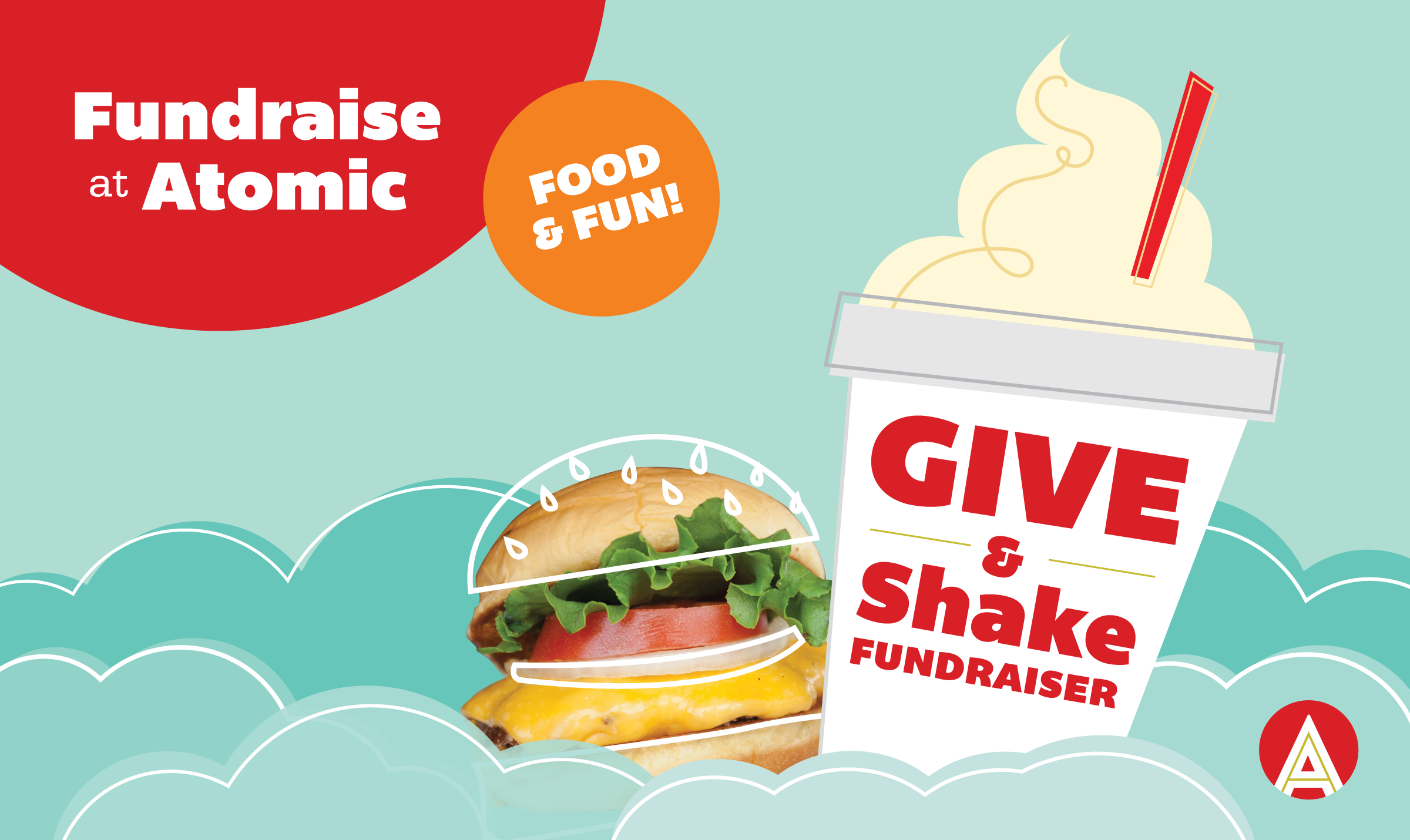 Atomic Burger Fundraising Graphic